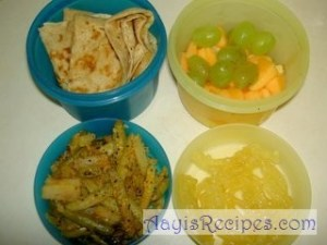 Lunchbox: Chapathi, gherkin upkari, Jilebi and fruits