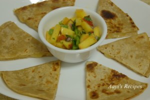 Quesadilla and Peach-corn salsa