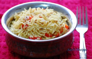 Capsicum-Cumin Rice With Saffron