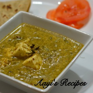 Palak Paneer with Almond paste