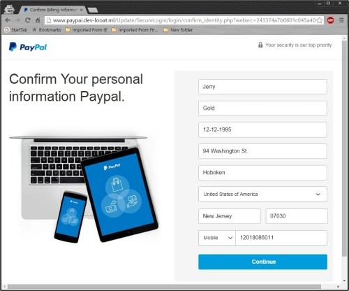Phishing Paypal 7/11