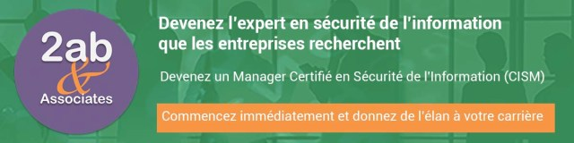 Bannière formation CISM (manager certifié en sécurité de l'information) - Objectif devenir CISO ou RSSI