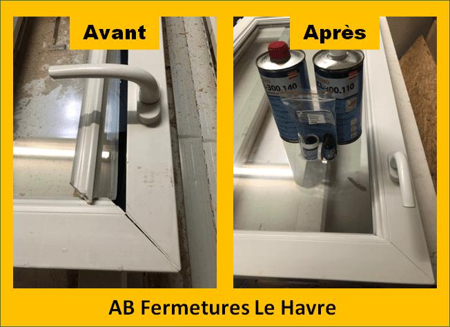 Photos avant et après réparation pvc AB Fermetures Le Havre