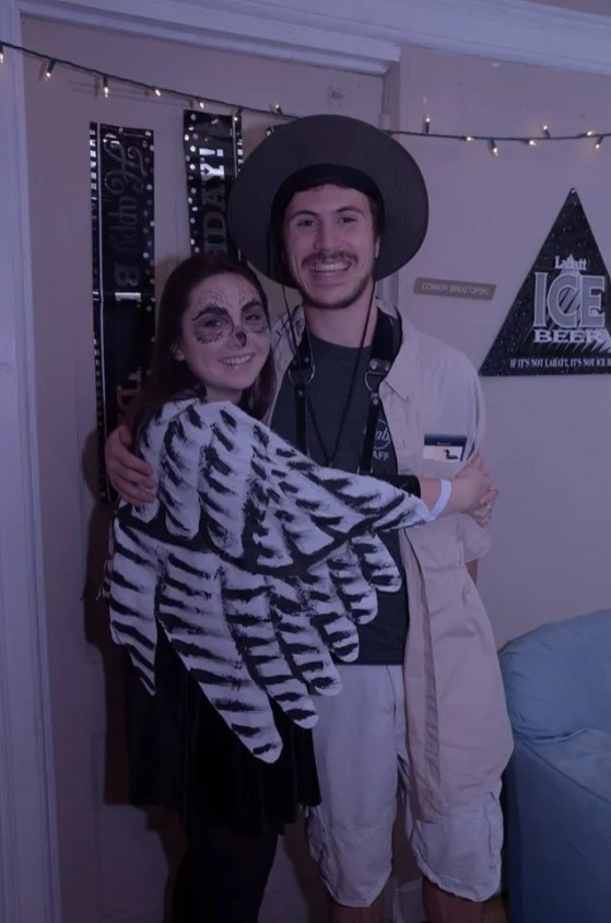 Nathaniel Sharp and his girlfriend as birder and Snowy Owl
