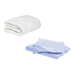 Porta Crib Mattress Protector And 2 Gingham Sheets Combo