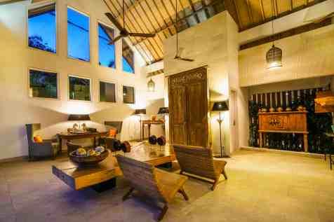 Villa Iluh Living Room Area at night
