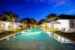 Abaca Villas Pools at Night