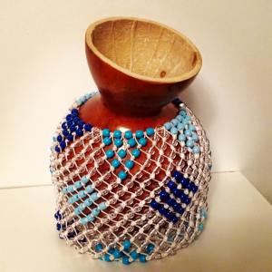 Shekere instrument blue diamond