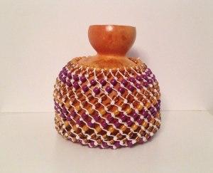 Shekere instrument purple gold