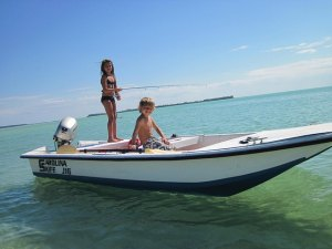Fishing from the Skiff while it is moored out front can be fun for the kids!