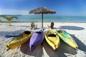 Four of our thirteen kayaks - a GORGEOUS day!