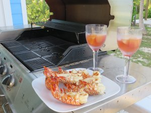Lobster Tails grilled on the deck at Camp David