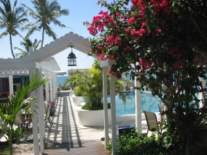 The pool and walk way to the beach at the Hope Town Harbour Lodge