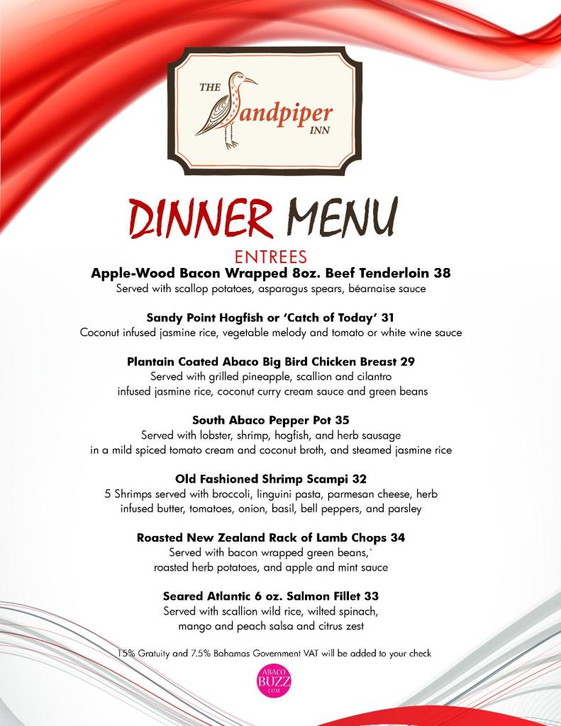 Sandpiper Dinner Menu - Page 2 - April 2016