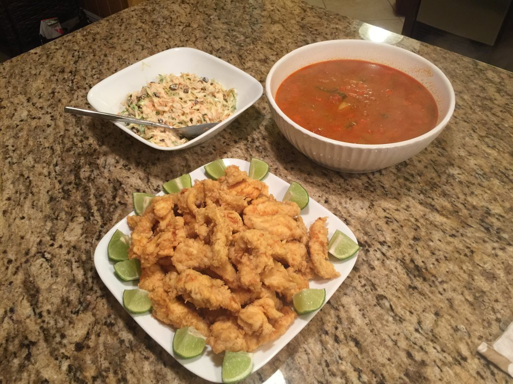 Fish Fingers, Cole Slaw, and a 'family size' bowl of Conch Chowder!