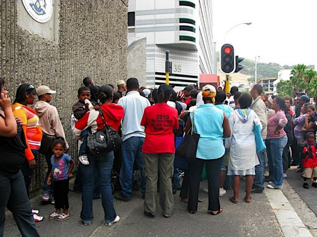 January 7, 2009. Residents of Symphony Way, Delft, at Housing Department offices, Wale Street, Cape Town.