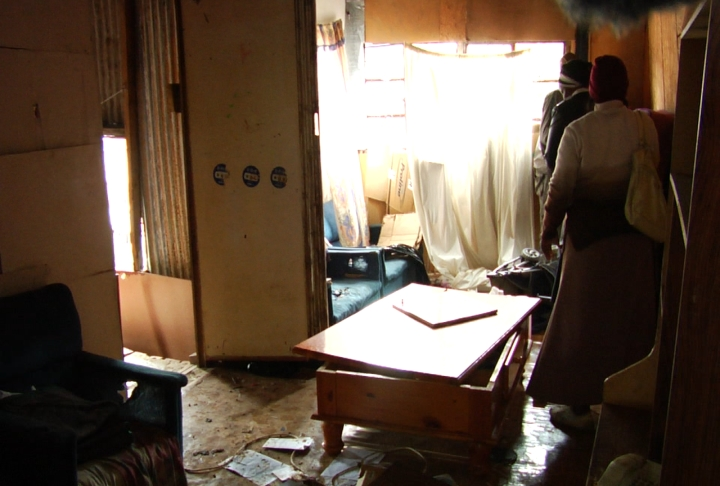 The living room of Sbu Zikodes home after the attack - 28 September