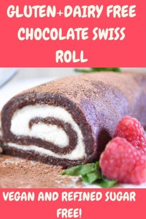 This gorgeous chocolatey gluten and dairy free swiss roll is refined sugar free and packed with flavour.