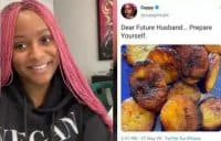 Nigerians React as DJ Cuppy Shows Picture of Plantain She Fried