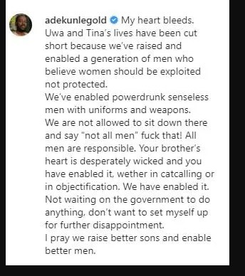My Heart Bleeds – Adekunle Gold Reacts To Death of UNIBEN Student
