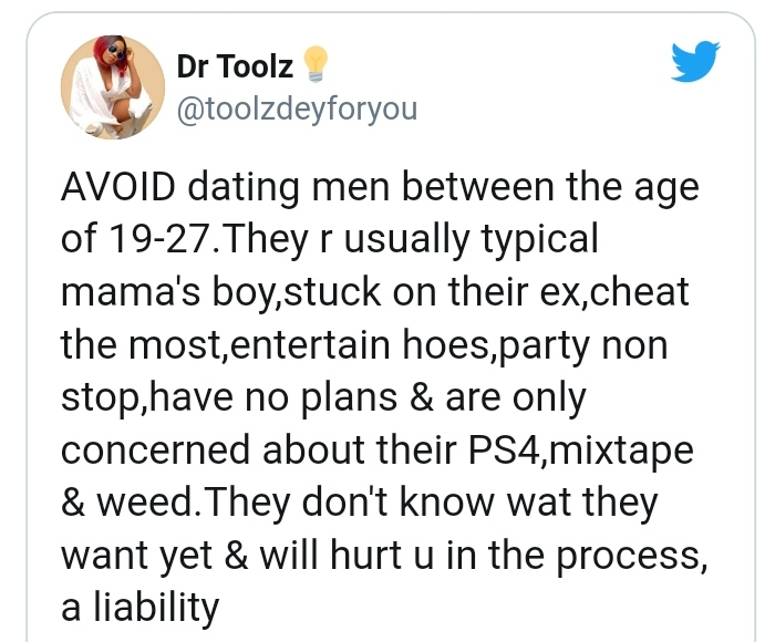 Men From Age 19 To 27 Are Liabilities, Don't Date Them - Nigerian Lady