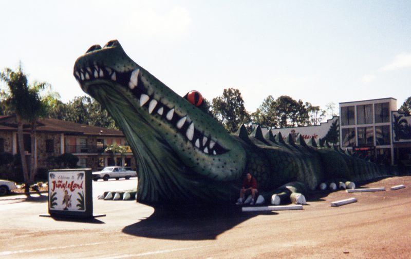 Photo Credit: Mykl Roventine, 1990s - Alligatorland Zoo was renamed to Jungleland Zoo in 1995, with many of the original remaining including the giant gator statue.