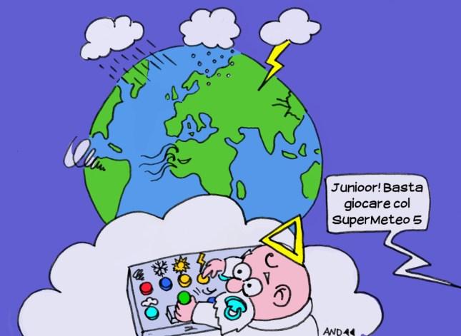 Un piccolo Dio gioca a scatenare devastanti eventi atmosferici premendo i tasti di una consolle