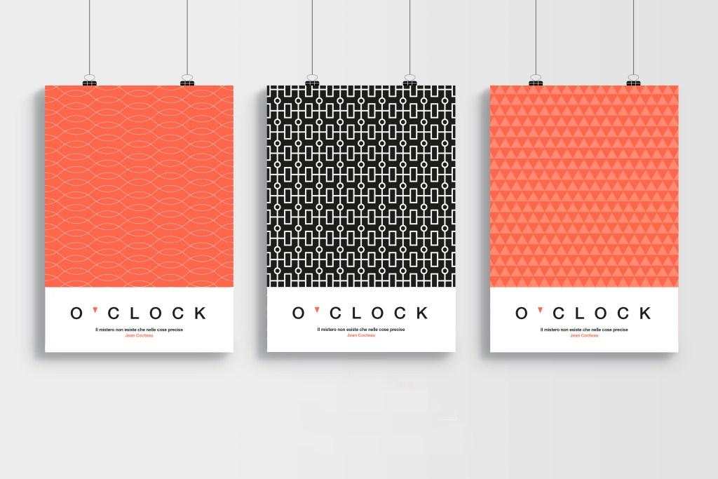 Progettazione dei pattern e poster per il brand O'clock