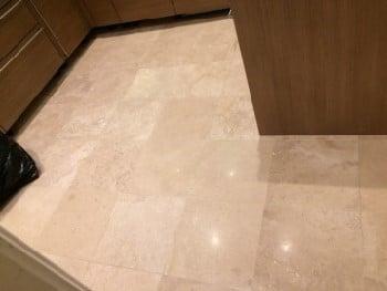 limestone floor polished and sealed