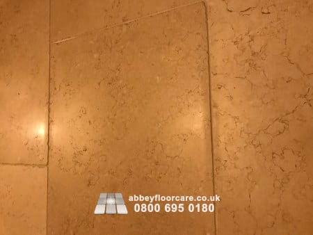 marble tiles damaged by grout cleaning