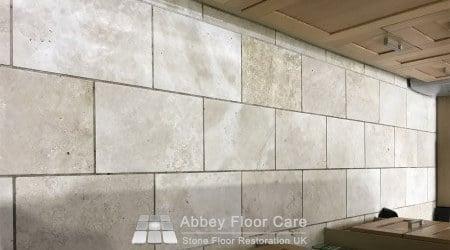 Dirty travertine floor in Sutton Coldfield B72