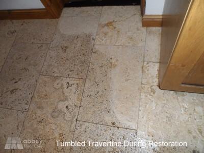get dirty tumbled travertine clean again
