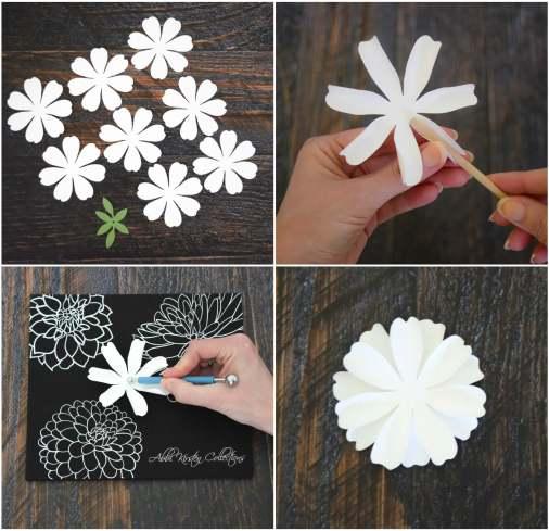 Step by step dahlia flower tutorial