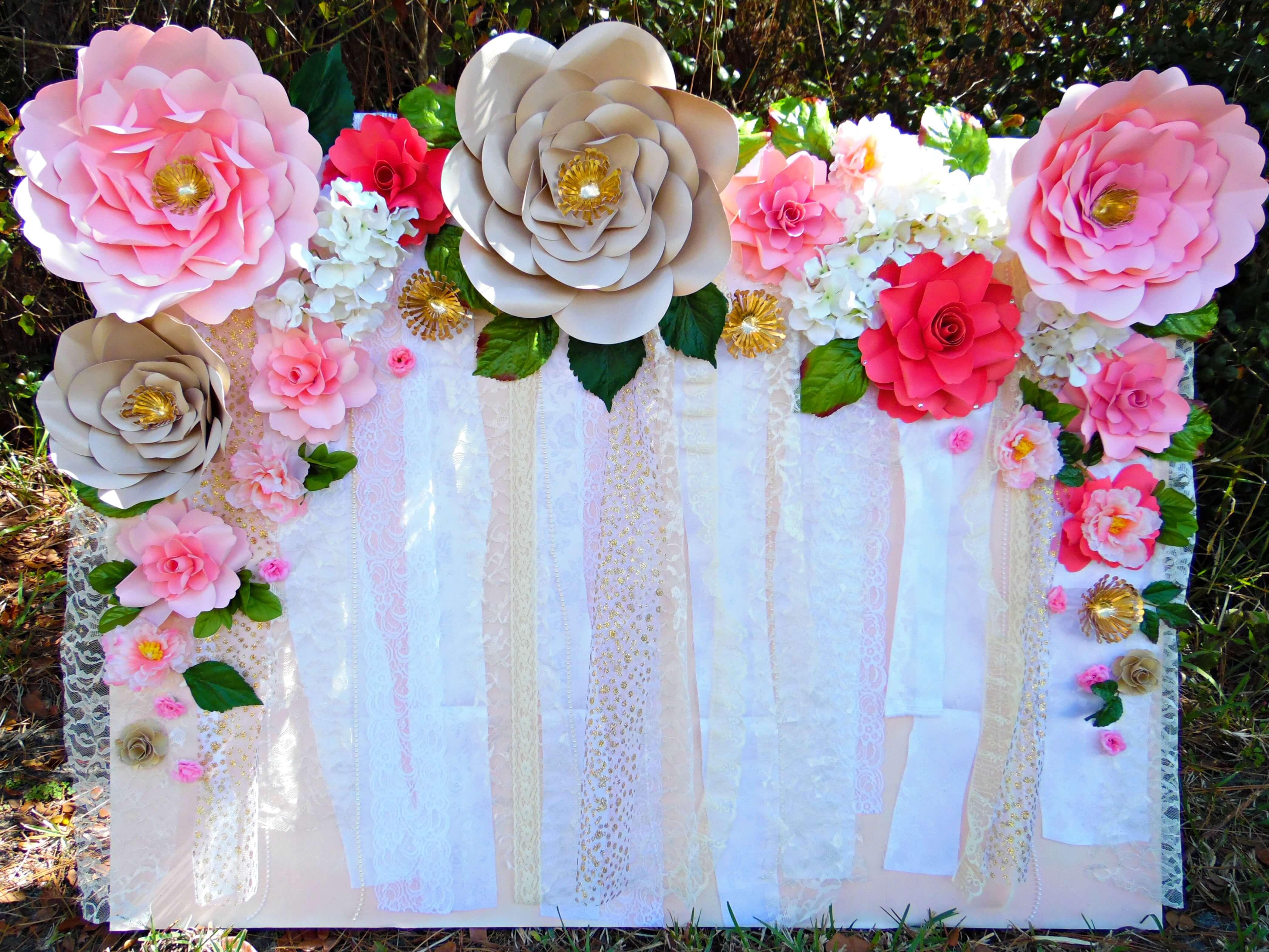 Easy Paper Flower Backdrop Assembly