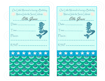 little mermaid birthday party inivites