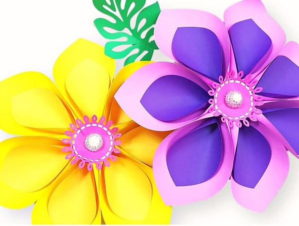 Hawaiian paper flower summer crafts for kids.