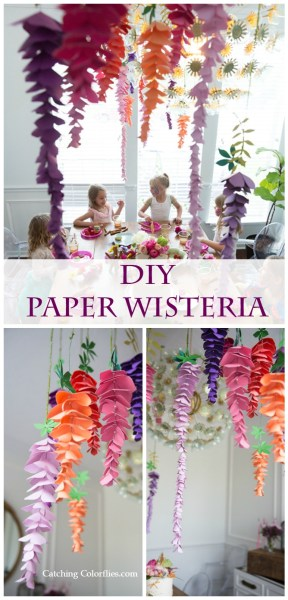 DIY Paper Wisteria Tutorial - Learn how to make hanging wisteria flowers with this easy step-by-step tutorial for parties and weddings.