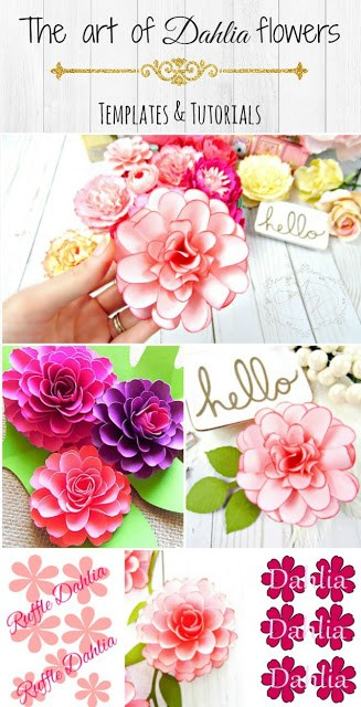 How to make paper dahlias. Step by step paper flower tutorials and templates.