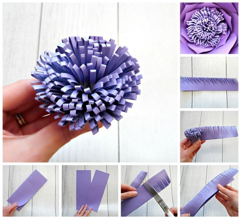 How to make a pompom center for large paper flowers