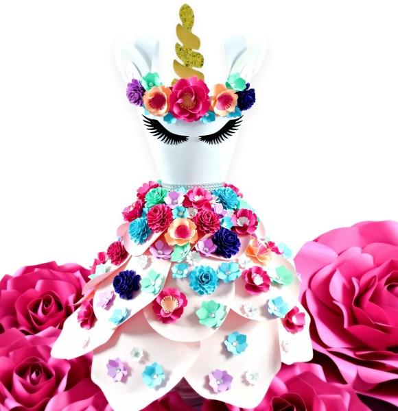 Unicorn paper flower dress party decor.