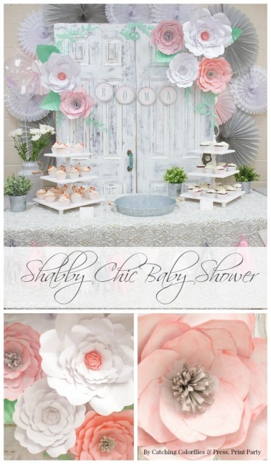 Shabby Chic Baby Shower Decor. Paper Flower Backdrop.