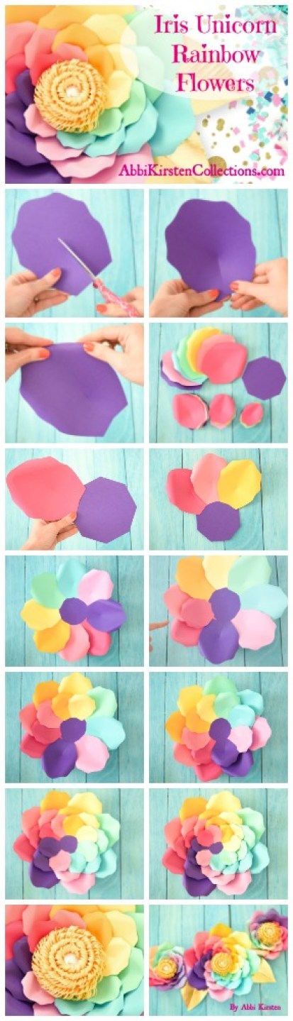 DIY Iris Unicorn Rainbow Flowers- Large Rainbow Paper Flowers