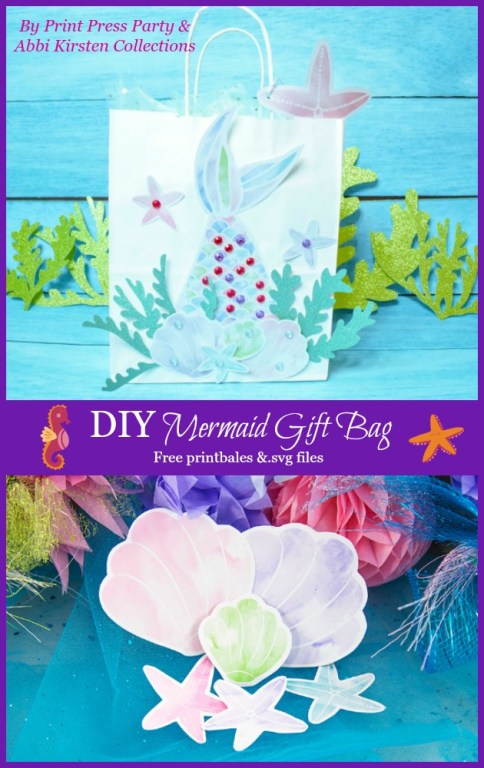 DIY mermaid party gift bag. Free mermaid party printables.