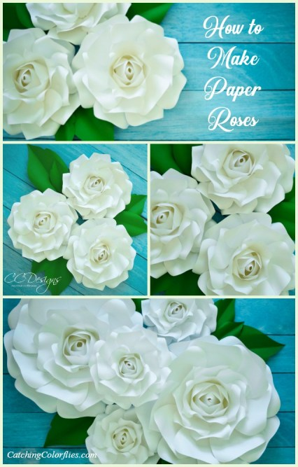 Giant paper rose printable templates and step by step tutorial.