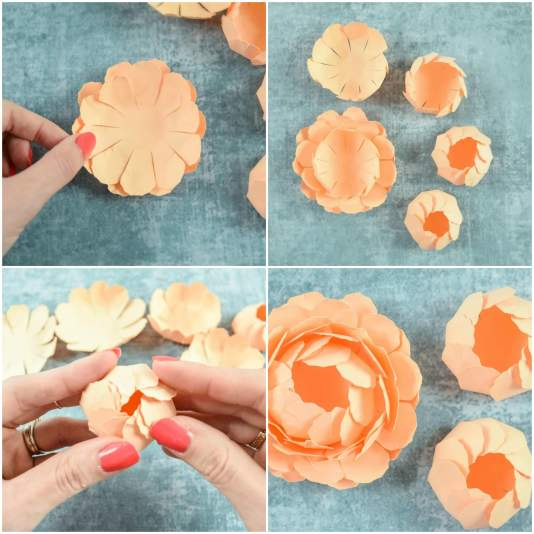 Peony paper flower template step by step easy paper flower tutorial steps 7 9 mightylinksfo
