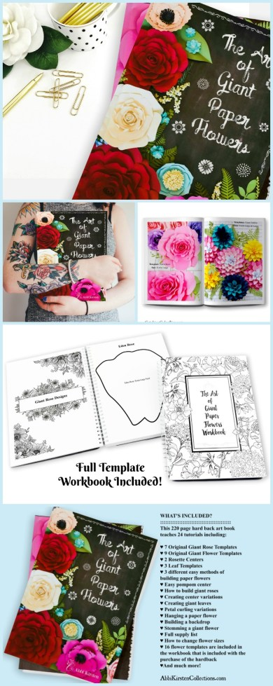 The Art of Giant Paper Flowers. How to make large paper rose and flowers step by step. Free flower template.
