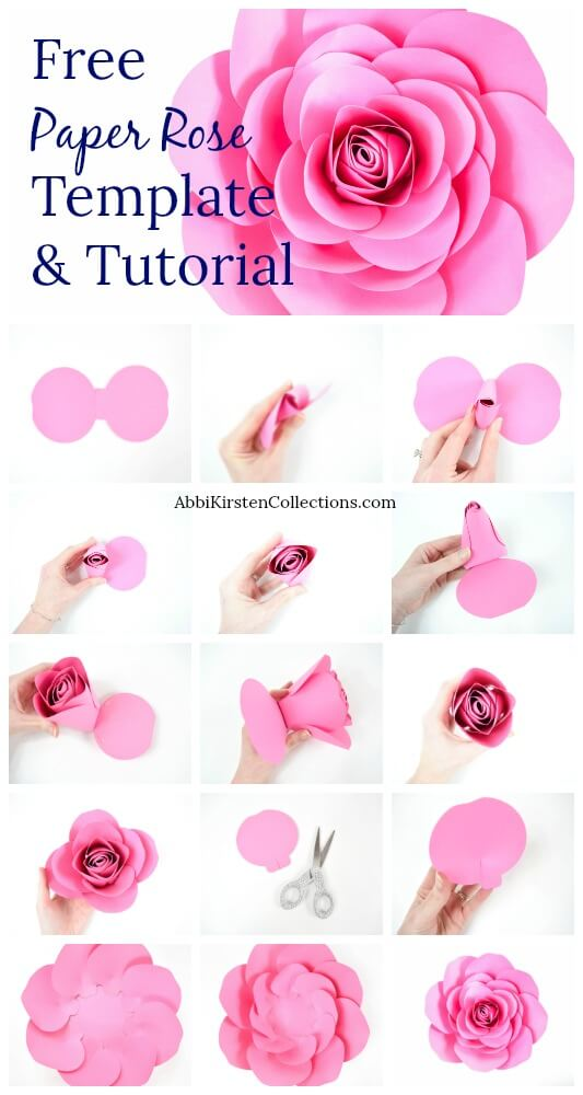 image about Paper Rose Template Printable named Totally free Heavy Paper Rose Template: Do it yourself Camellia Rose Guide