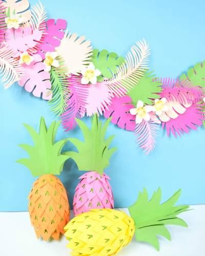 DIY pineapple party decorations. Tropical luau party decor