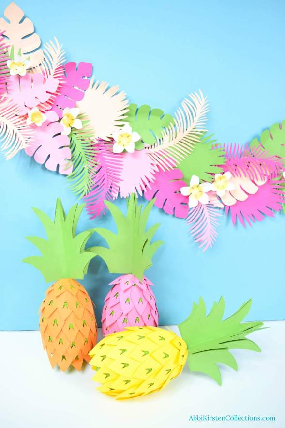 DIY pineapple party decorations. Tropical luau party decor
