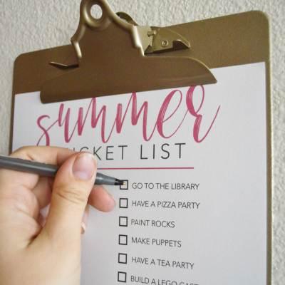 Summer Bucket List Printable + DIY Clipboard